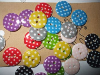 15mm Polka Dot Resin Buttons    Choice of Colour